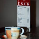 Cafétasse und Speisekarte
